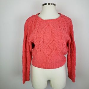 Sleeping on Snow Chenille pink coral sweater